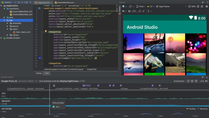 A native Android app being developed in Android Studio